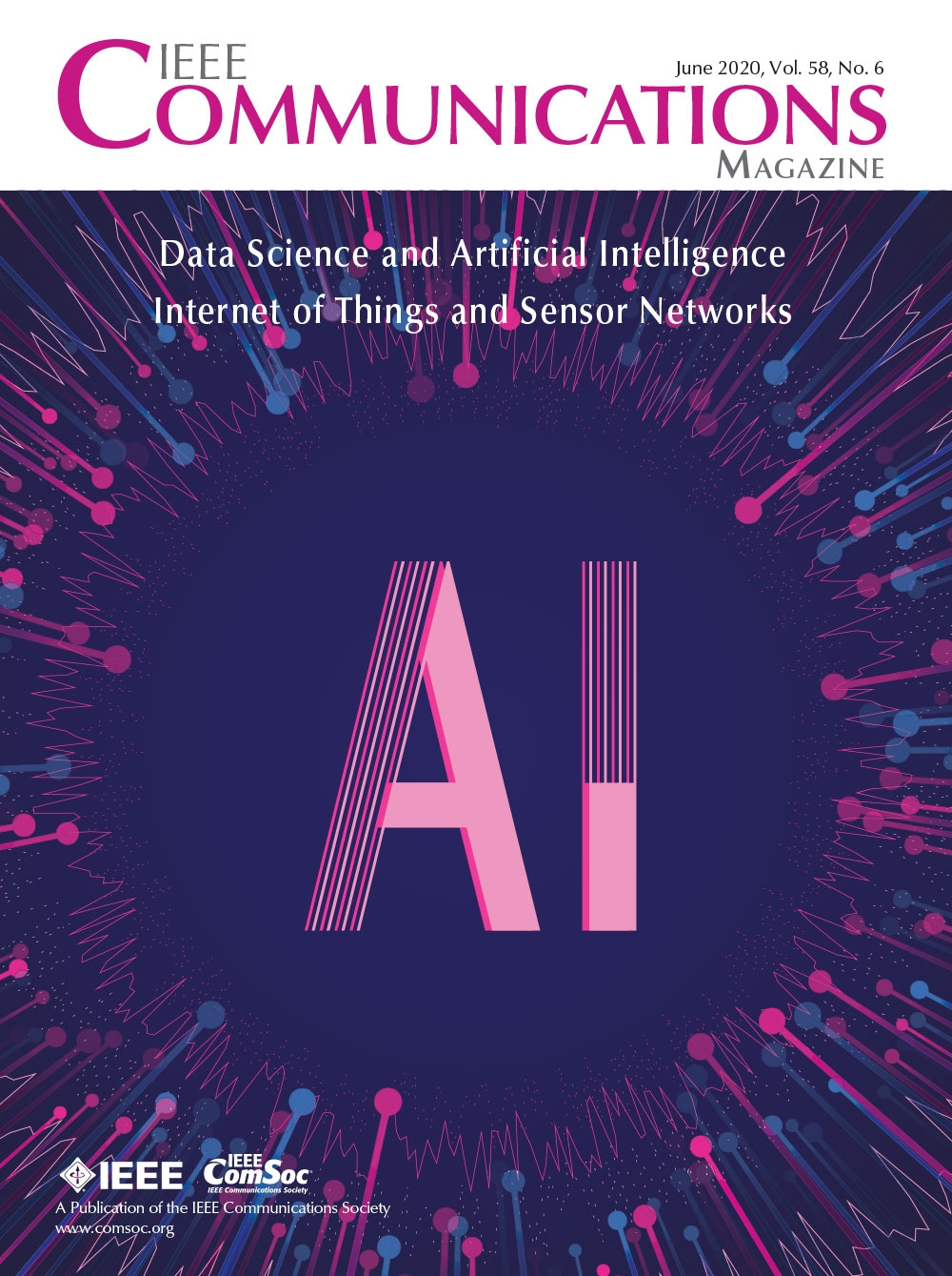 """IEEE Communications Magazine"" written in pink text, with the cover image of the words ""AI"" written in light purple on a dark purple background."