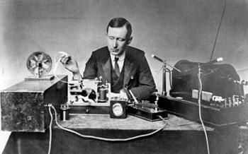 Guglielmo Marconi with his radio equipment
