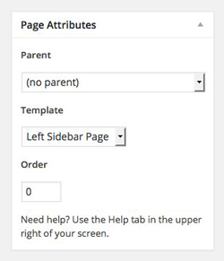 WordPress Page Attributes - Create the Parent Page